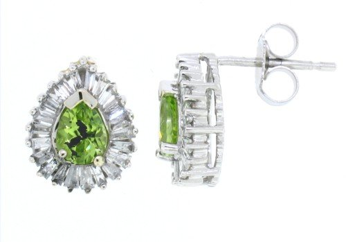 0.56Ct Pear Shaped Peridot Earring with Diamonds in 14Kt White Gold