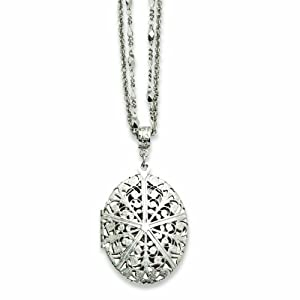 Silver-tone Oval Locket on 16 Double Chain Necklace