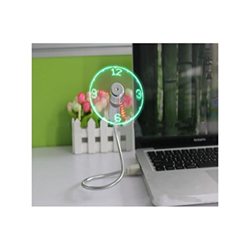 DC Mini Cool Office Gadget Desk Flexible Gooseneck USB LED Time Display Clock Fan Laptop Desktop.