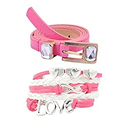 Diovanni Combo of Pink Color Bracelet and Belt For Womens