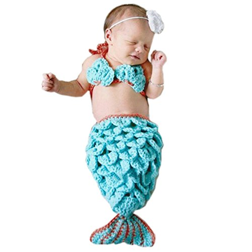Pinbo Newborn Baby Girls Mermaid Headband Bra Tail Crochet Knitted Photography Prop