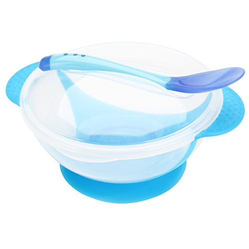 Iwotou Baby Suction Bowl Feeding Set , Perfect For Your Baby Kids (bowl and spoon set, blue)