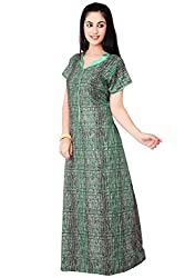 WOMEN COTTON NIGHTY WITH LONG ZIP :NIGHTGOWN : SLEEPWEAR : FARRY-brand that cares...