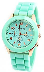 EVANA Geneva Elegant Silicon Bracelet Mint Green Watch , Watches for Women