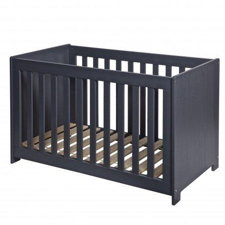 Alfred & Compagnie - Lit bébé bois massif 60x120 gris acier
