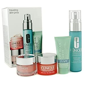 Clinique - Travelling Skin Pros: All About Eye Rich 15ml + Turnaround Renewer 30ml + City Block 15ml + Moisture Surge 15ml - 4pcs