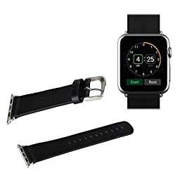 Apple Watch Band, THZY Black 38mm Genuine Leather Strap Wrist Band Replacement w/ Metal Clasp for Apple Watch All Models 38mm