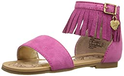 Stuart Weitzman Camia Anna Fringe Boho Low Sandal (Toddler/Little Kid/Big Kid), Fuchsia, 2 M US Little Kid