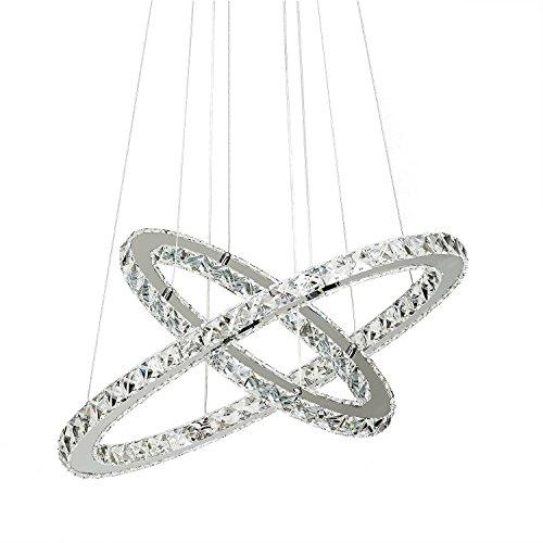 KJLARS moderno lampadario di cristallo in metallo cromato pendente illuminanti 2 anelli regolabili in altezza LED Lamp lampada a sospensione