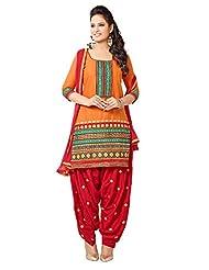 Vbuyz Womens Cotton Patialas Salwar Suit (Orange & Red)