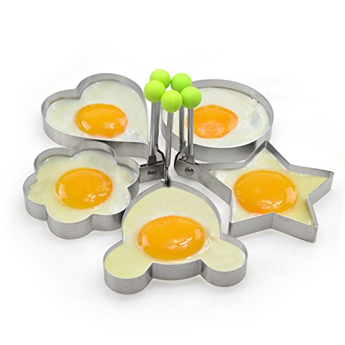 Small Egg & Pancake Ring Molds Yummy Sam 3.5 Inch Diameter Set of 5 Shapes - Non Stick - Bpa-free - Multi Use Cookware for Skillets, Frying Pans, Griddles and BBQ Stainless Steel(5 pack)