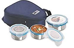 Steel Lock HL- 1261 Airtight 3 pc (200 ml x2 & 400ml x 1) Lock Steel Lunch / Meal/Tiffin Box with Insulated bag