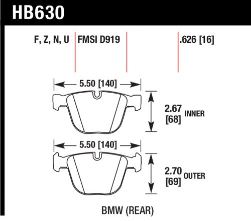 Hawk Performance Hb630Z.626 Performance Ceramic Brake Pad