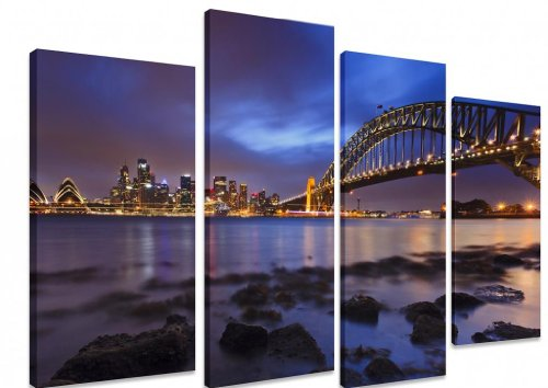 picture-multi-split-panel-canvas-artwork-art-sydney-city-harbour-bridge-sunset-low-tide-river-lights