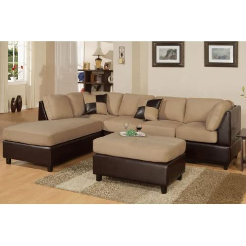 Inland Empire Furniture Hazelnut Sectional Sofa Ottoman