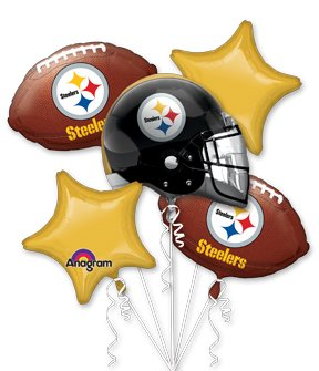 Pittsburgh Steelers Party Balloons - Black & Gold + Footballs at Steeler Mania