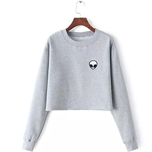 Long Sleeve Embroidery Alien Funny Crop Top Sweatshirt Women Fleece Shirt for Teenagers Girls Winter Clothes (M, Gray) (Teenagers Clothes compare prices)
