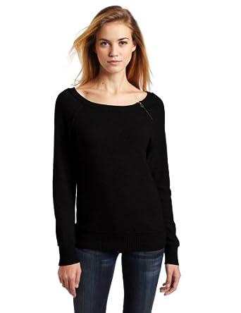 Lamade Women's 100% Cashmere Jenna Raglan Sweater, Black, Small