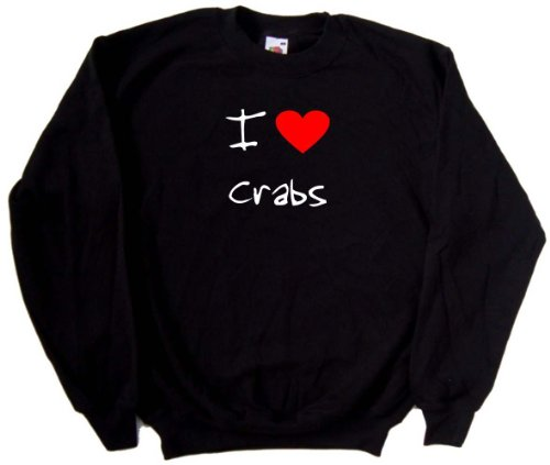 I Love Heart Crabs Black Sweatshirt (White & Red print)-Small