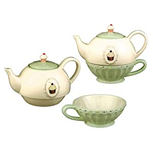 Grasslands Road Just Desserts Cupcake 32-Ounce Tea for One Teapot and Teacup Set