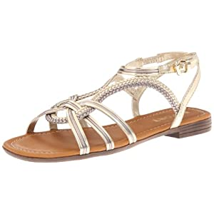 Report Women's Gilly Huarache Sandal,Gold,7.5 M US