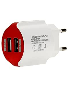 Chevron Dual Port 2.1 Ampere Premium USB Charger (White, Red)