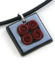 Polymer Clay Red Rose Bouquet Pendant Necklace