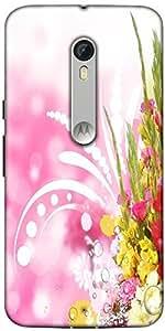 Snoogg Floral Corner Border With Blurred Background Designer Protective Back Case Cover For Motorola Moto X Style