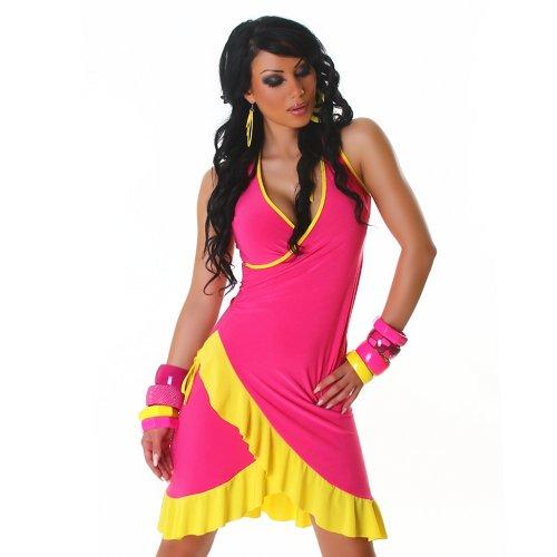 Cocktailkleid Kleid Tanzkleid V-Ausschnitt zweifarbig Einheitsgröße 32,34,36,38 - 24 verschiedene Farben