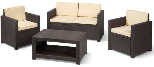 allibert 183319 lounge set monaco set rattanoptik kunststoff braun billig gartenm bel set. Black Bedroom Furniture Sets. Home Design Ideas