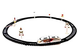 S S TRADERS - High Speed Metro with Round Track Battery operated Train (silver) toys for kids (26.8 x 16.4 x 5 cm)
