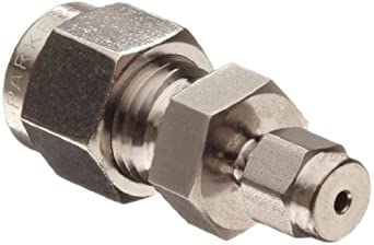 "Parker 4RU1-316 316 Stainless Steel A-LOK Reducing Union 1/4"" Compression Fitting 1/16"" Compression"