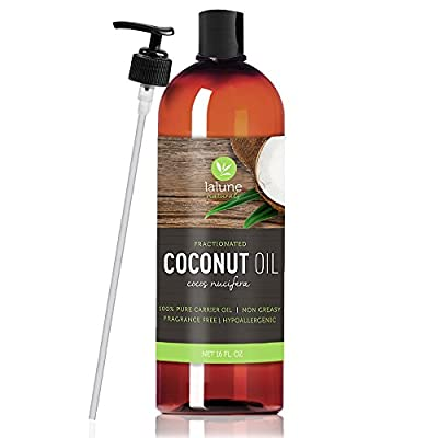 Fractionated Coconut Oil - 16 Oz - La Lune Naturals 100% Pure Liquid Fractionated Coconut Oil - FREE eBook & Pump - Best Aromatherapy Carrier Oil or Base Oil for Essential Oils, Hair & Skin Moisturizer, Massage Oil, Makeup Remover, and Hair Growth