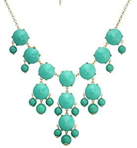 Color Bubble BIB Statement Fashion Necklace - Turquoise