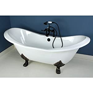 72 Cast Iron Double Slipper Clawfoot Bathtub With Oil Rubbed Bronze Tub