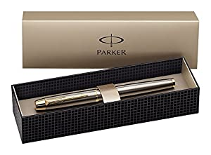 Parker IM Brushed Metal Gold Trim Rollerball Pen - Gift Boxed