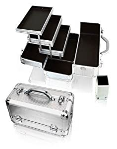 Amazon.com: Silver Aluminum Cosmetic Train Case Case With Brush Holder Style No. Ts-28: Beauty