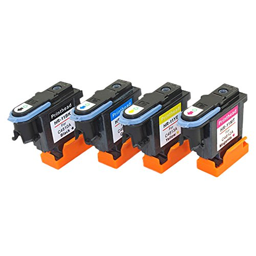ESTON 4 Pack (Black Cyan Magenta Yellow) Replacement for HP 11 Printhead Fit for HP Designjet 70 90 100 110 500 510 500ps 800ps 9110 K850