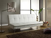 Big Sale Sofa Convertible White Faux Leather with Chromed Legs