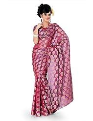 Designersareez Women Net Jacquard Printed Deep Pink Saree With Unstitched Blouse(795)