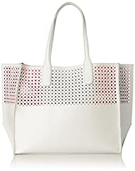 Emilie M. La Mar Perforated Tote, White/Melon, One Size