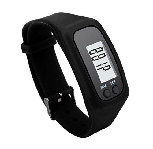 ZARU el hombre y la mujer de funcionamiento Secuencia podómetro Walking caloría de la distancia de la pulsera del reloj del contador digital LCD BK