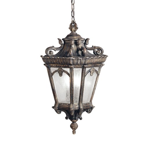 Kichler Lighting 9855LD Tournai 3-Light Outdoor Pendant, Londonderry with Clear Seedy Glass