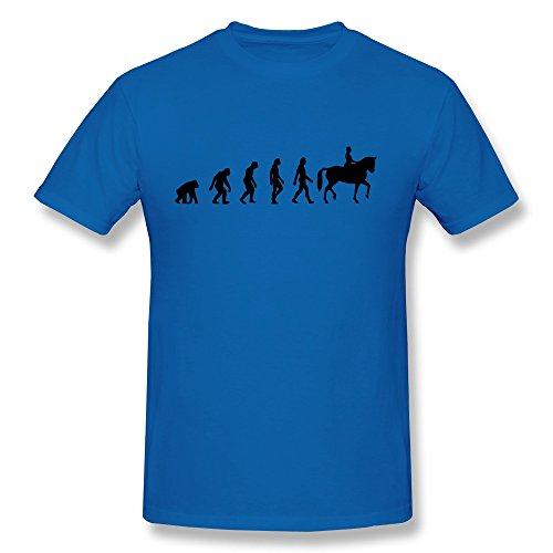 Qmy Men'S Geek Horse Riding Evolution T-Shirts Xl Royalblue