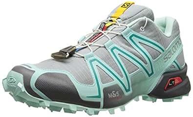 Salomon Women's Speedcross 3 Trail Running Shoe, Light Onix/Topaz Blue/Dark Cloud, 5 M US