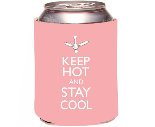 "Rikki Knight ""Keep Hot And Stay Cool Light Pink Color Design"" Beer Can Soda Drinks Cooler Koozie front-614744"