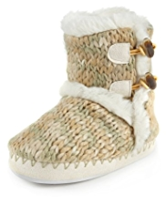 Ankle High Faux Fur Chunky Knit Slippers