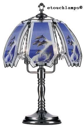 dolphin touch lamp 4 with pewter base   table lamps