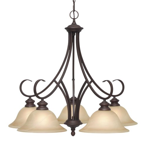 B001CM4G1E Golden Lighting 6005-D5 RBZ Lancaster Five Light Nook Chandelier, Rubbed Bronze Finish