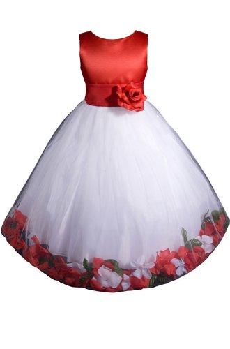Amj Dresses Inc Red/White Flower Girl Christmas Dress Size 4 front-888602